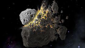 Recreación de la colisión entre asteroides. Don Davis / Southwest Research Institute