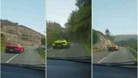 Las imágenes fueron grabadas por una pareja que viajaba por la misma carretera.