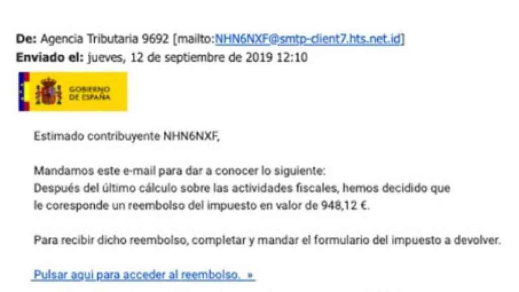 Falso correo de la Agencia Tributaria. Ejemplo de phishing