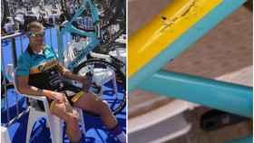 Carlos López y su bicicleta rota. Foto: Instagram (@carlostrilopez)