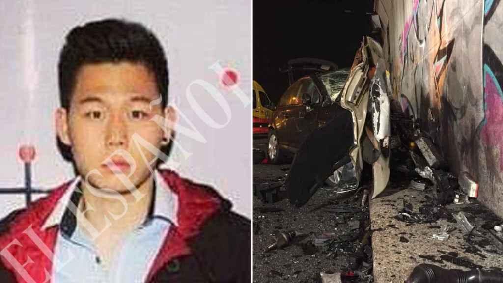 Kevin, a la izquierda, junto a una imagen del coche siniestrado tras el accidente.