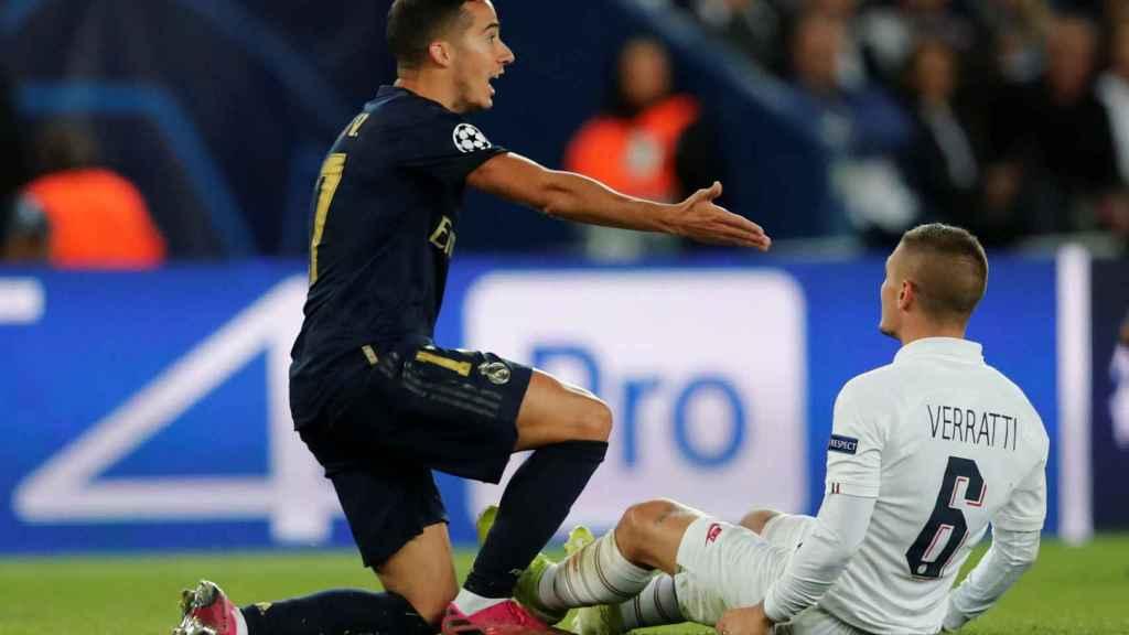 Lucas Vázquez y Verratti en el PSG - Real Madrid de la Champions League