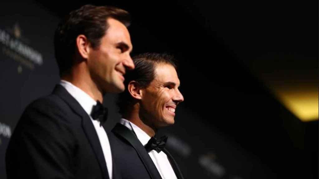 Federer y Nadal en la presentación del torneo Laver Cup. Foto: (@LaverCup)