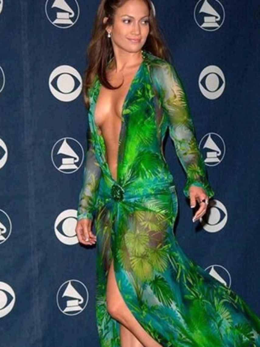 Jennifer López durante la gala de los Grammy en el año 2000.