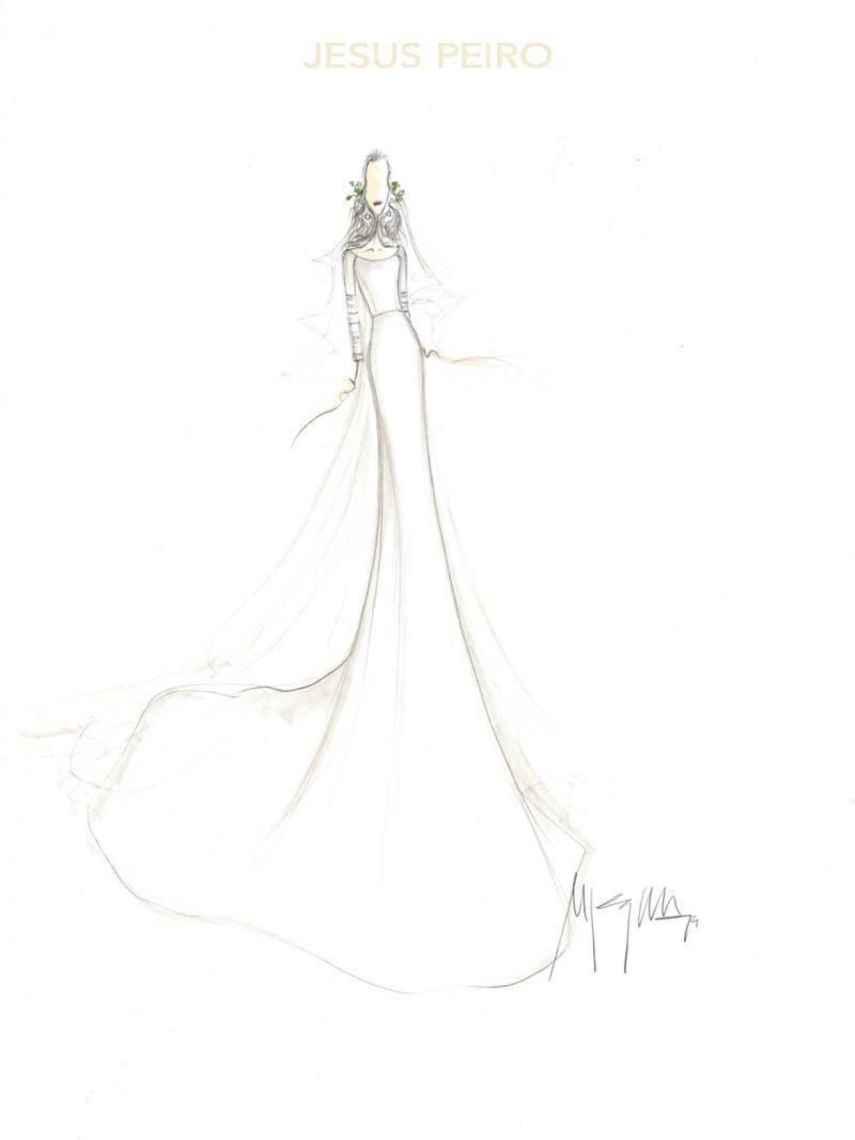 Boceto del vestido de novia diseñado por Jesús Peiro para Sandra Gago.