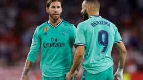 Sergio Ramos y Benzema, en un partido del Real Madrid