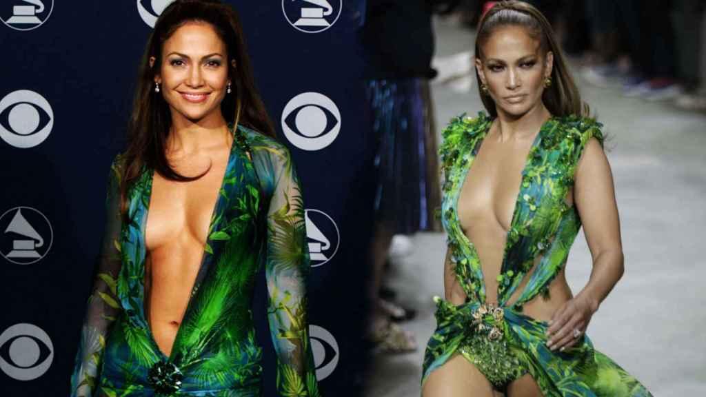 Jennifer Lopez y el 'jungle dress' en un montaje de Jaleos.