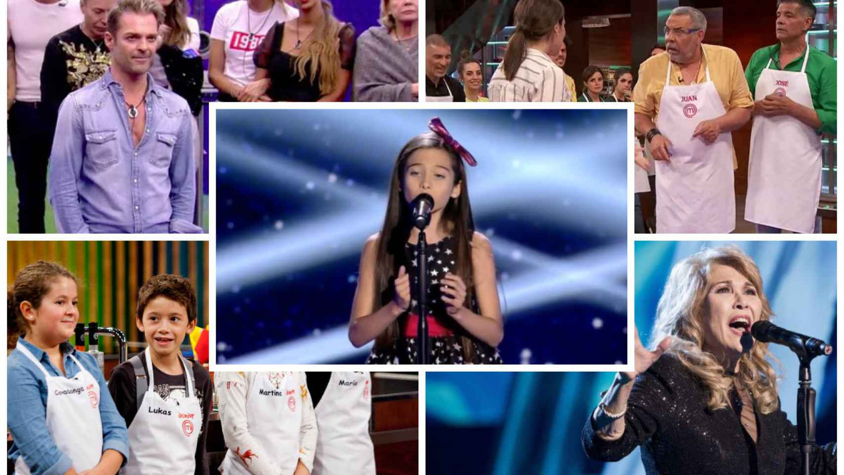 'GH VIP 7', 'MasterChef Celebrity', 'La voz kids', 'La voz senior' y 'MasterChef Junior' en montaje JALEOS.