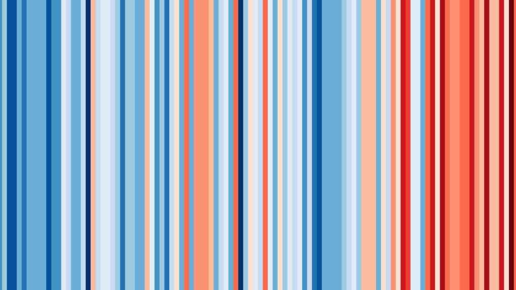Variación de la temperatura media anual en España de 1901 a 2018: cuanto más azul, más anormalmente fría, y cuanto más rojo, más cálida.
