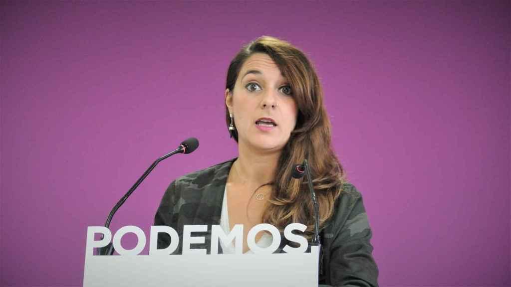 Noelia Vera, portavoz de Podemos, en rueda de prensa.