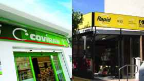 Fachadas de supermercados Covirán y Eroski Rapid.