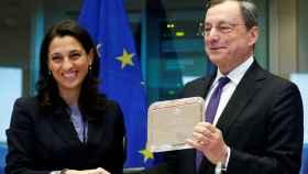 El presidente del BCE, Mario Draghi, durante su despedida este lunes en la Eurocámara