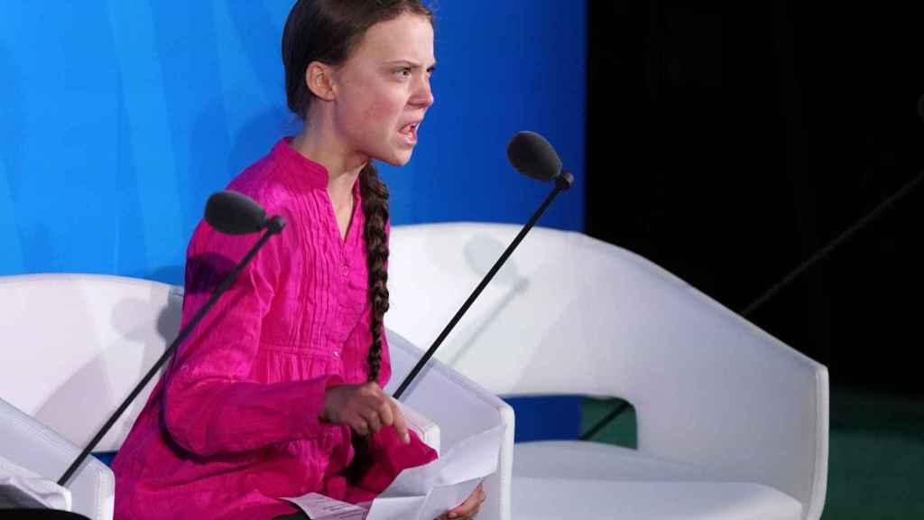 La activista sueca Greta Thunberg, durante la Cumbre de Acción Climática en Nueva York.