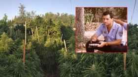 Andrés M. V., policía local en Murcia, y de fondo su plantación de Marihuana.