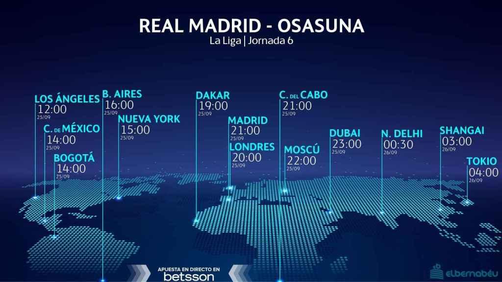 Horario internacional y dónde ver el Real Madrid - Osasuna