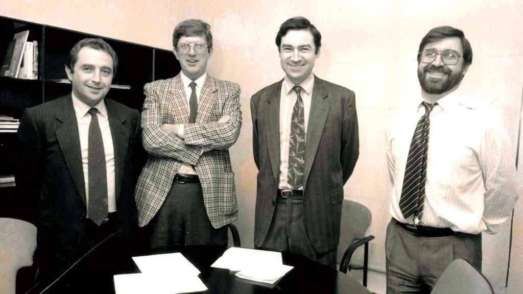 Balbino Fraga, Alfonso de Salas, Pedro J. Ramírez y Juan González en 1989, año fundacional de El Mundo.