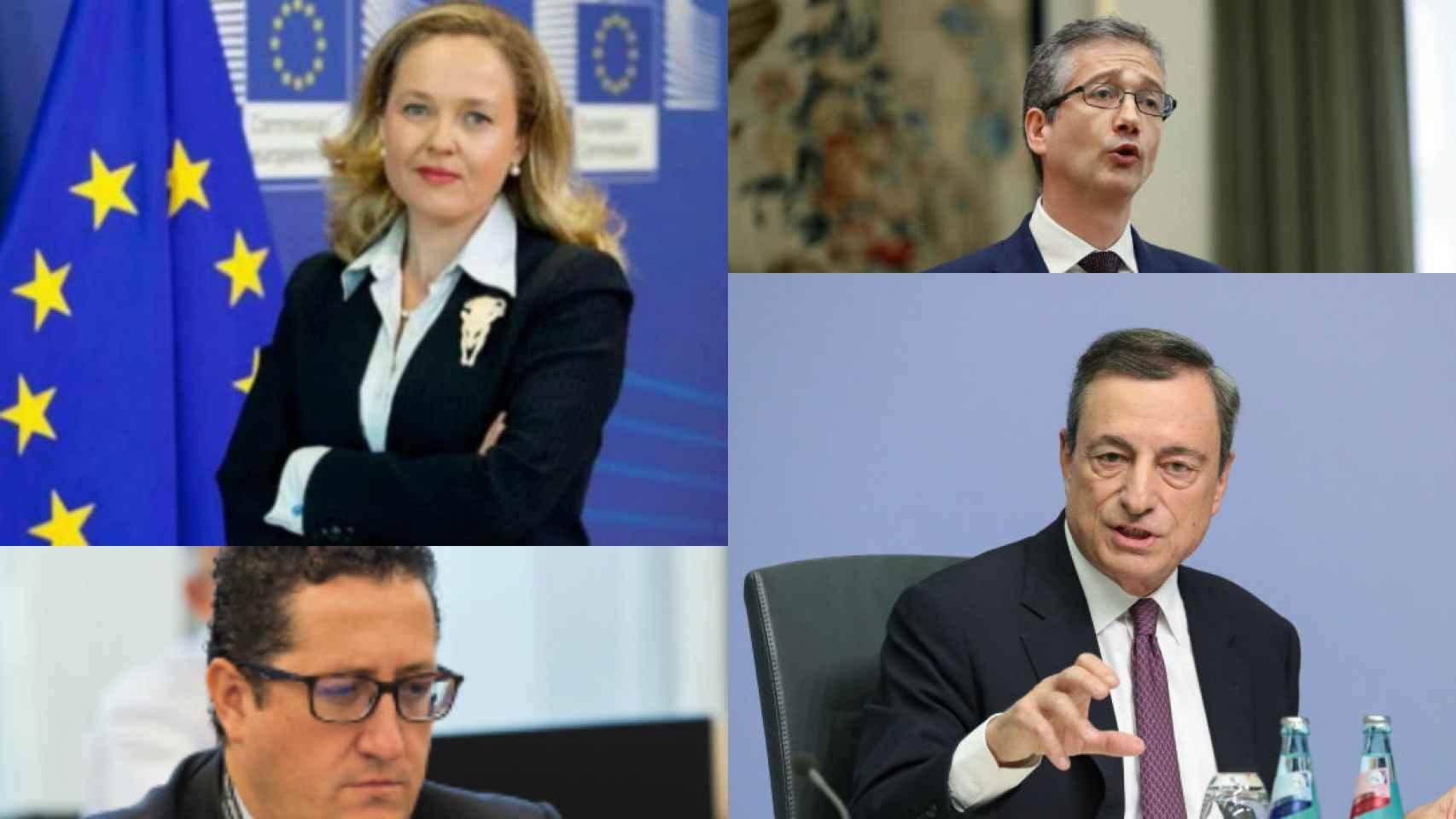 Nadia Calviño, Mario Draghi, Pablo Hernández de Cos y Óscar Arce.