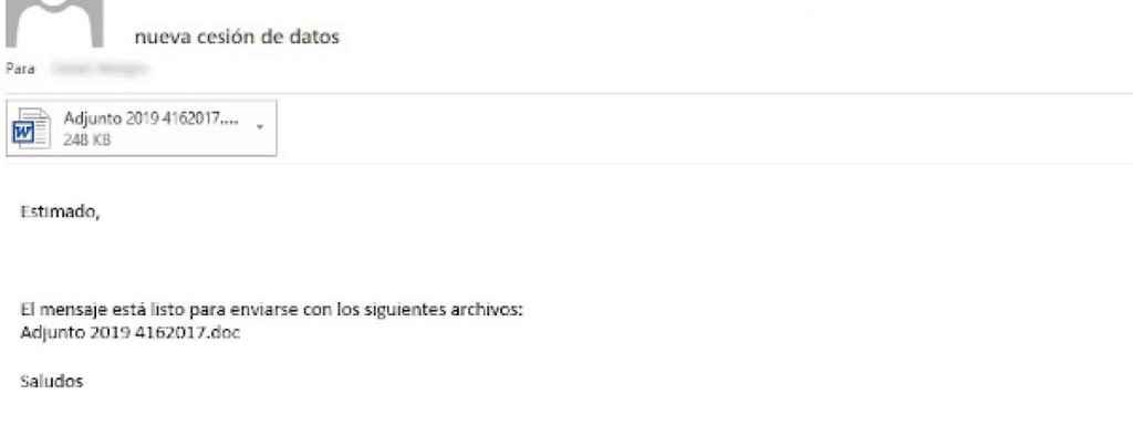 Ejemplo 1 de los correos con malware interceptados.