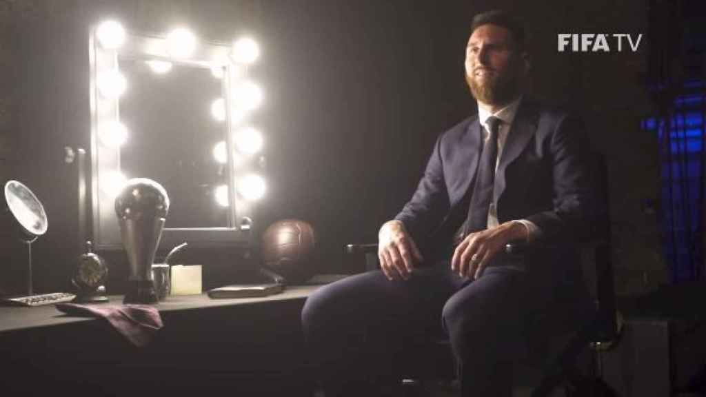 Leo Messi durante su entrevista con FIFA. Foto: FIFA TV