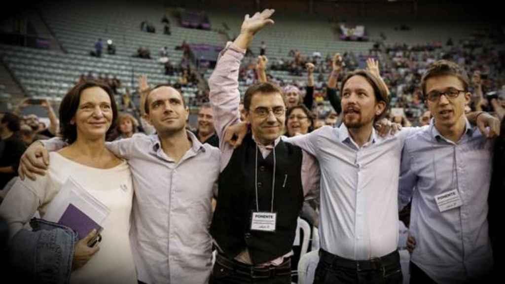 Carolina Bescansa, Luis Alegre, Juan Carlos Monedero, Pablo Iglesias e Íñigo Errejón, los fundadores de Podemos, en Vistalegre I.