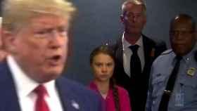 El presidente de EEUU, Donald Trump, junto a la activista sueca Greta Thunberg.