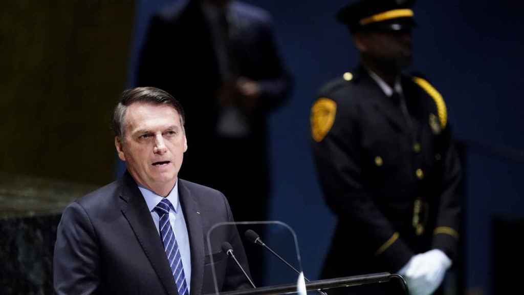 El presidente de Brasil, Jair Bolsonaro, durante la Cumbre por el Clima de la ONU en Nueva York.