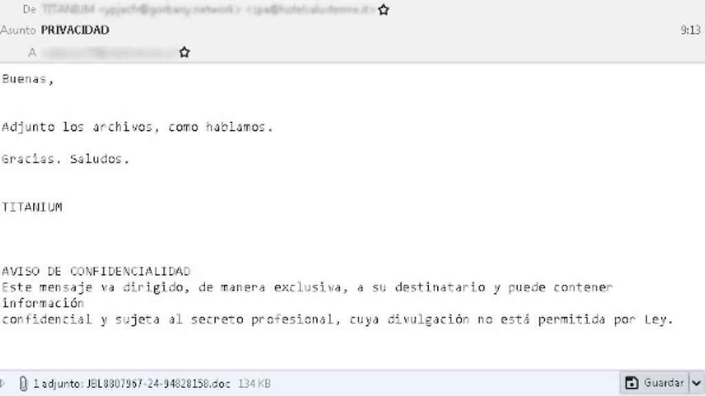 Uno de los correos interceptados por OSI que contiene un virus