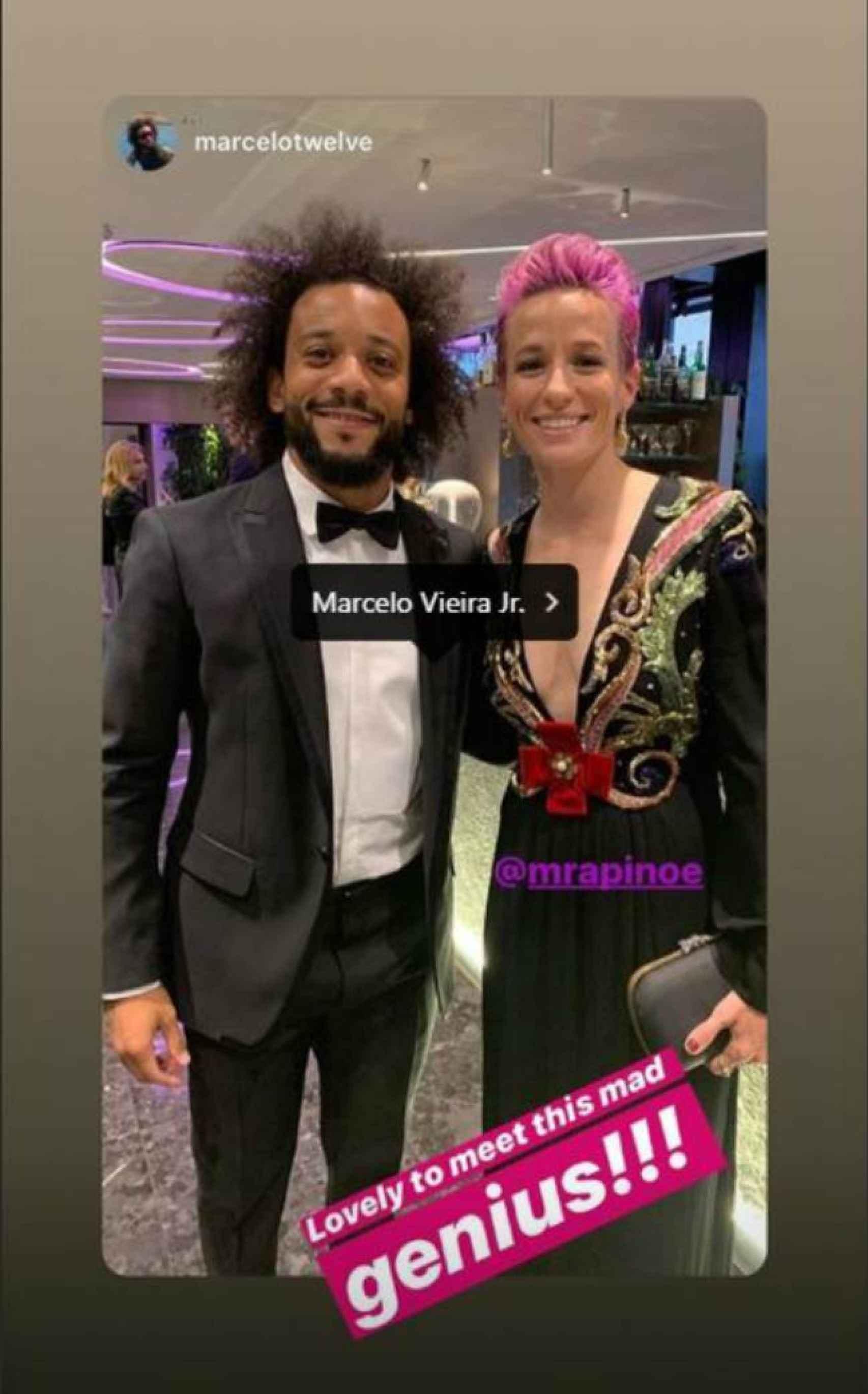 Marcelo y Rapinoe, en la gala The Best