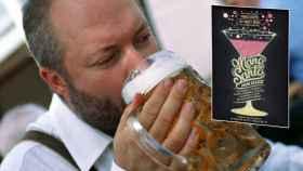 Montaje de un hombre bebiendo cerveza y los famosos polvos para evitar la resaca.