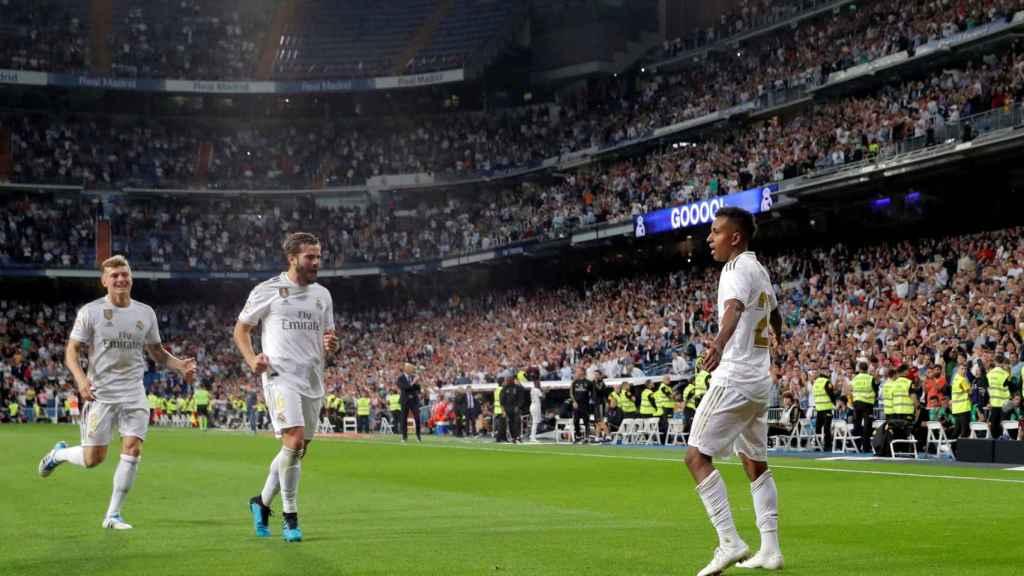 Rodrygo, tras su primer gol en el Santiago Bernabéu