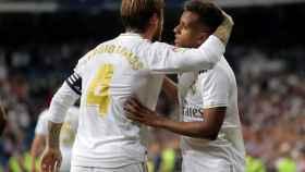 Sergio Ramos y Rodrygo, en un partido del Real Madrid