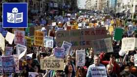 Estudiantes hacen huelga en Madrid.