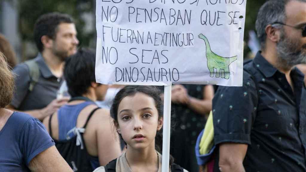 Una joven se manifiesta contra la crisis climática este viernes en Madrid.