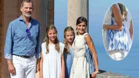 El rey Felipe, la infanta Sofía, la princesa Leonor y la reina Letizia con su bolso FQ.