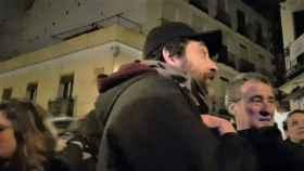 Rafa Mayoral, diputado de Unidas Podemos, en el desalojo de Argumosa, 11 (Madrid).