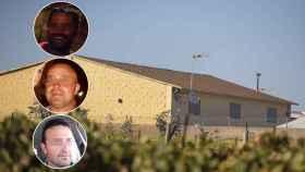 Sobre la imagen de la casa donde ocurren los hechos, el propietario (arriba), la víctima mortal y uno de los dos heridos.