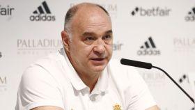 Pablo Laso, en rueda de prensa con el Real Madrid