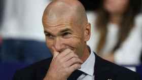 Zinedine Zidane, durante el derbi madrileño en el Wanda Metropolitano