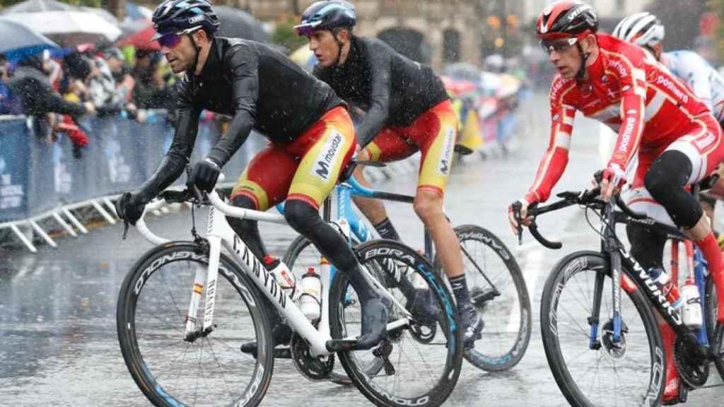 Alejandro Valverde, durante el Mundial de ciclismo. Foto: Twitter (@Movistar_Team)