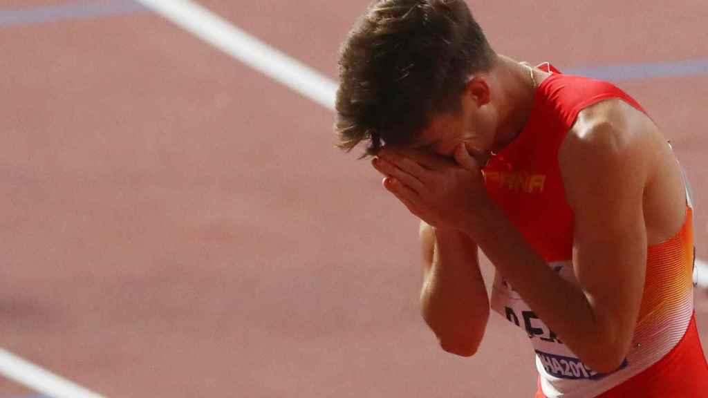 Adrián Ben, durante la semifinal de los 800 metros del Mundial de Doha