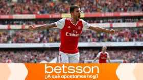 Dani Ceballos, en un partido del Arsenal
