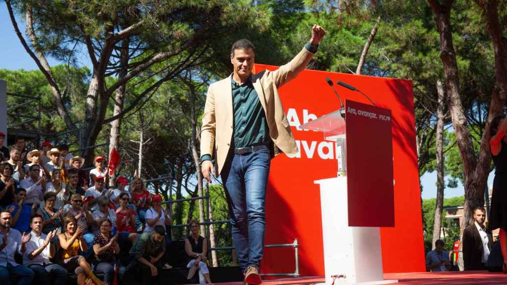Pedro Sánchez, en la Fiesta de la Rosa del PSC, en la Pineda de Gavá.