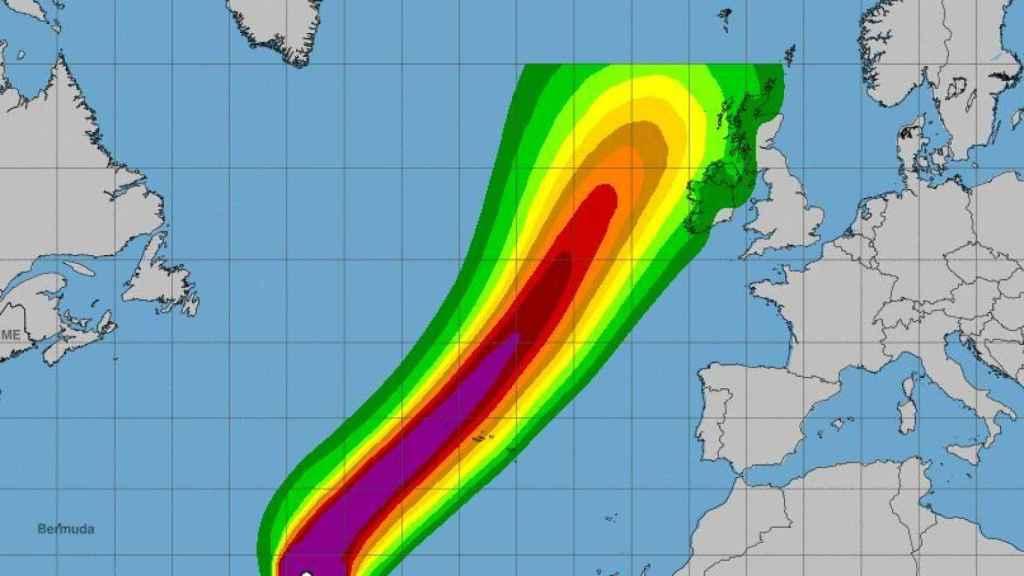 Una imagen de la previsión de la velocidad de los vientos del huracán Lorenzo.
