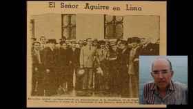 El profesor de la UPV Pedro José Chacón junto a un recorte de prensa del 'lehendakari' Aguirre en Lima en 1942.