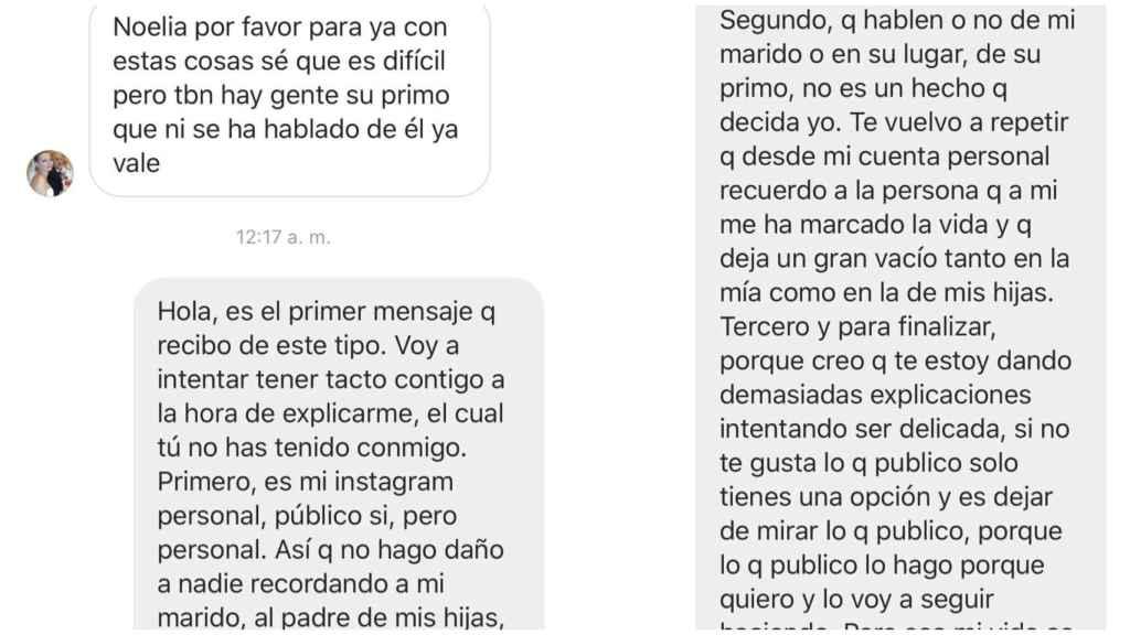 La respuesta de Noelia López a una usuaria de Instagram.