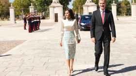 Felipe y Letizia, a su llegada al Palacio de Aranjuez.
