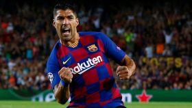 Luis Suárez celebra uno de los goles del Barcelona ante el Inter