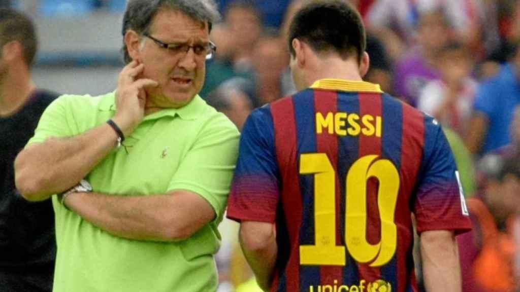 Messi y Tata Martino, en un partido del Barcelona