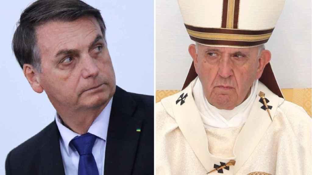El presidente de Brasil, Jair Bolsonaro, y el Papa Francisco.
