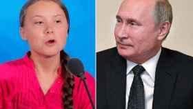 La activista Greta Thunberg y el presidente de Rusia, Vladimir Putin.